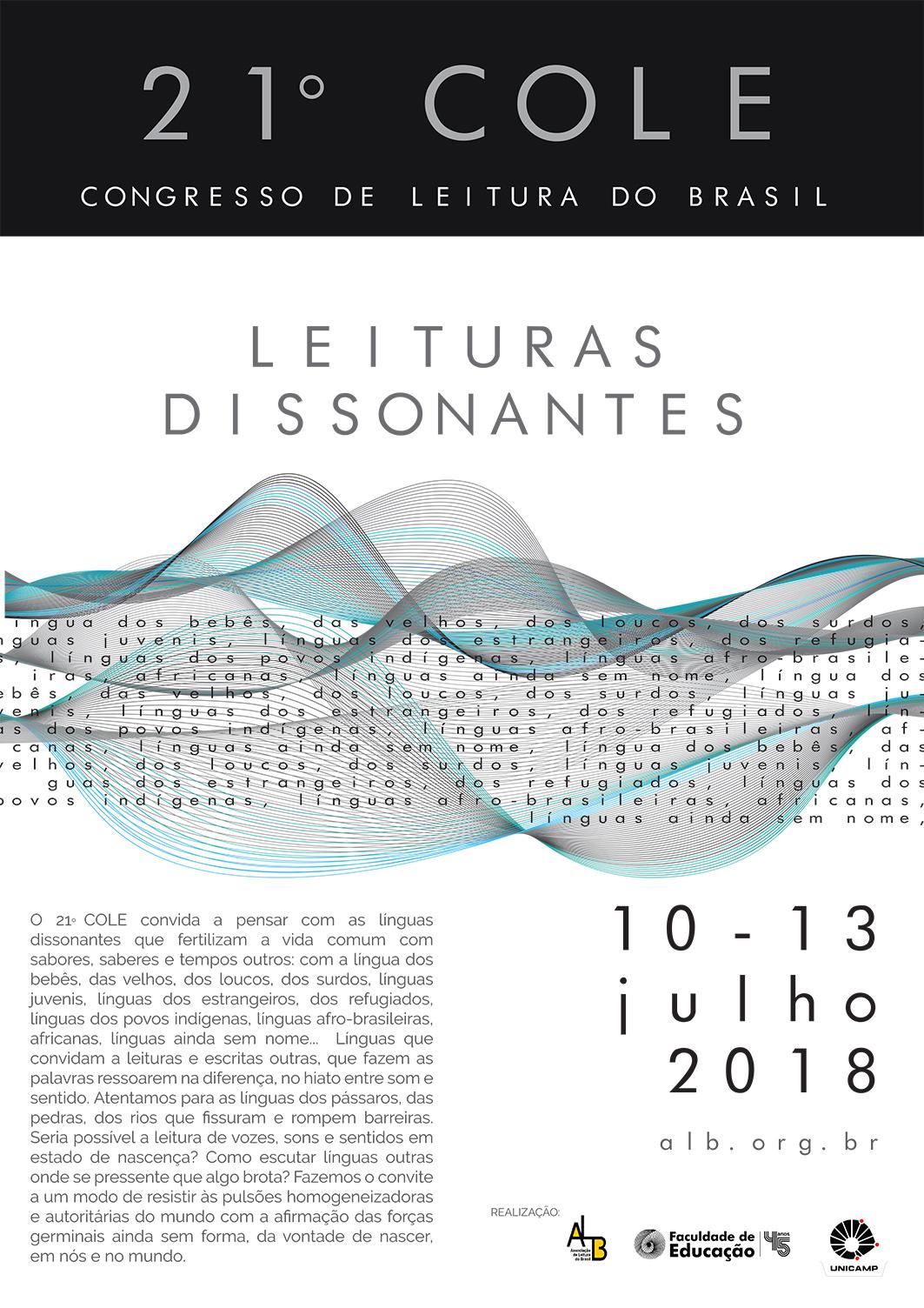 21º COLE – Congresso de Leitura – De 10 a 13/07/2018